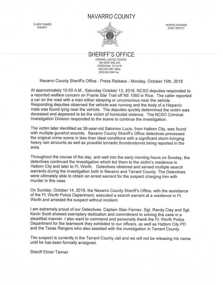 Press Release #1 - Press Releases - Navarro County Sheriff's