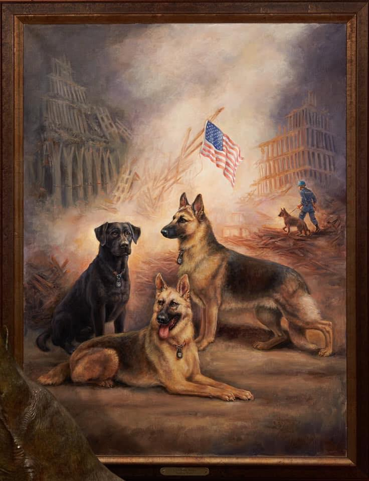 Painting of 2 german shepherd dogs, a black lab and the remains of the twin towers behind them