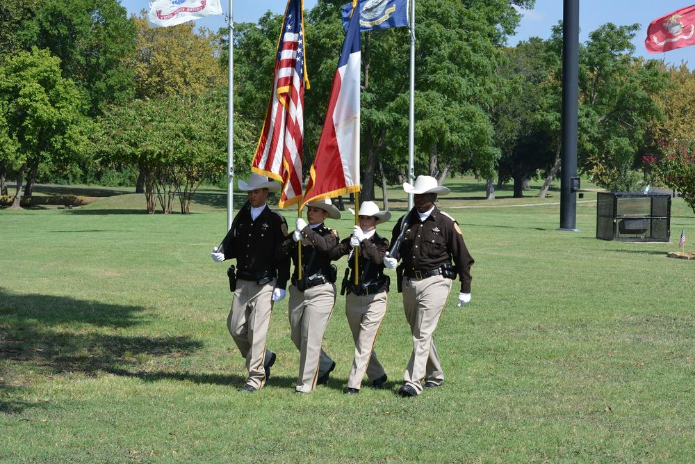Navarro County color guard stand together