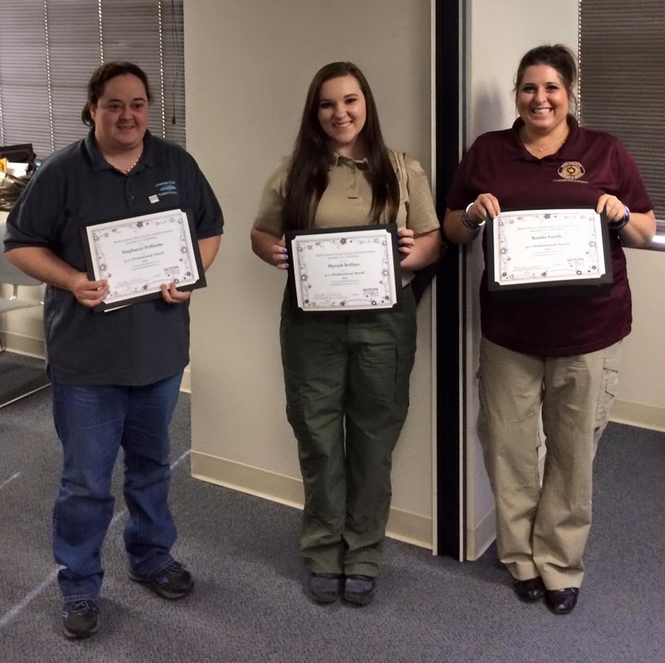 Stephanie Williams with Johnson County Sheriff's Office, Myriah Rollins with Navarro County Sheriff's Office, and Bambi Smith with Wise County Sheriff's Office