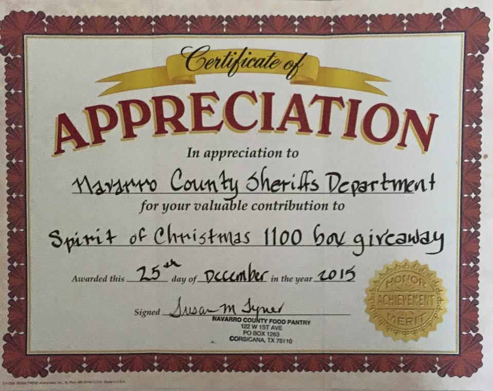 Certificate of appreciation from the navarro county food pantry 1112016g yadclub Image collections