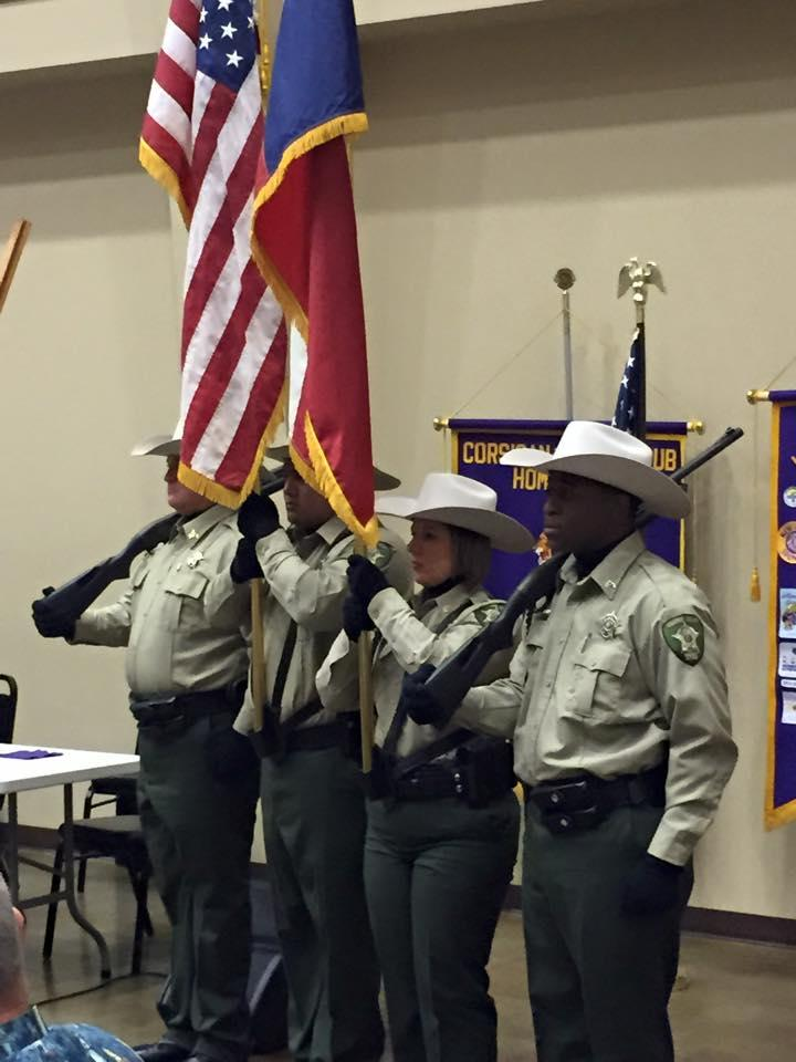 The Navarro County Sheriffs Office proudly posted the colors for the Lions Club area meeting in Corsicana