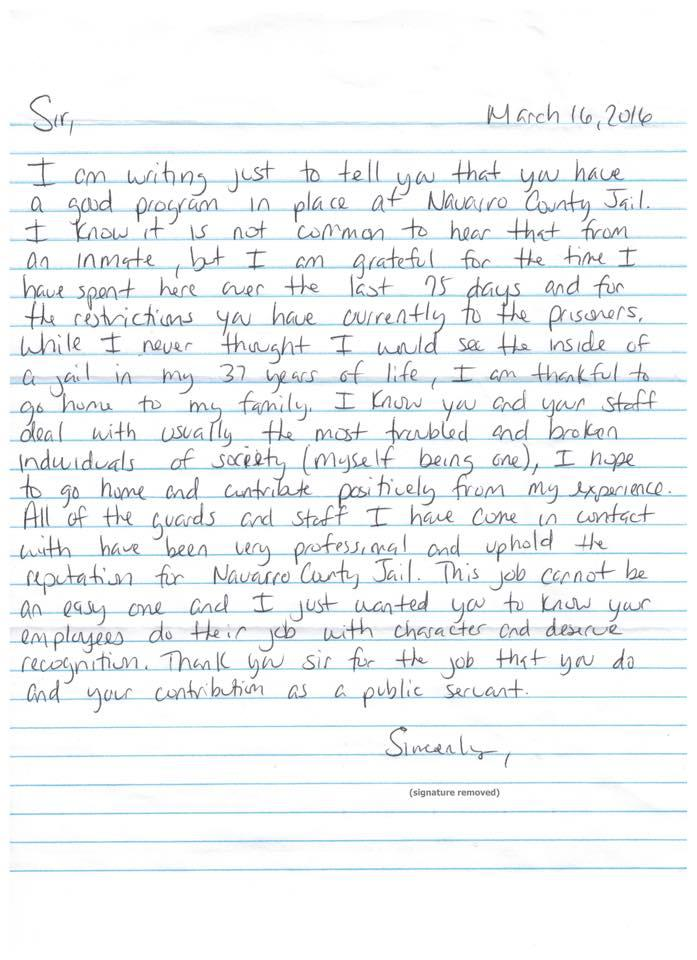 A letter from an inmate. Details below