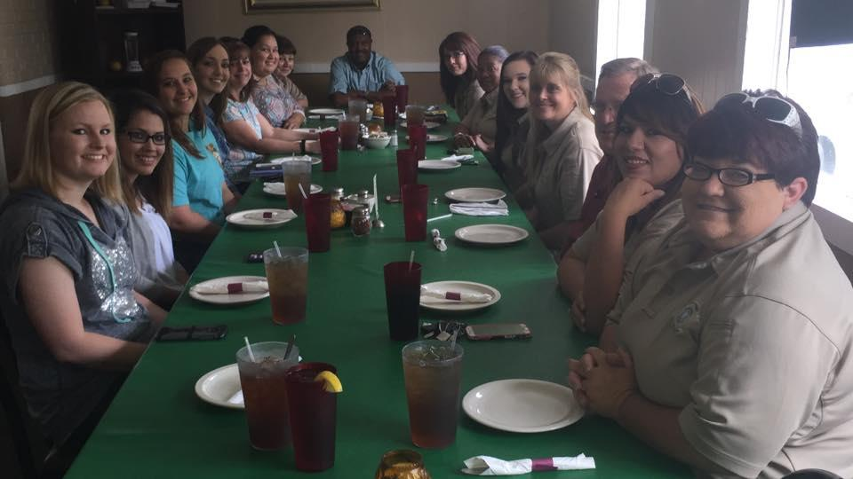 The N.C.S.O. Communications Division, Chief Deputy Steward and Sheriff Tanner having lunch together with our Telecommunicators at Italian Village restaurant