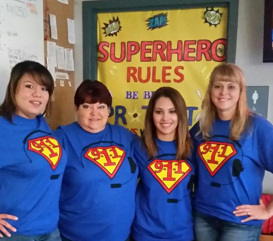 Our day shift Telecommunicators are supporting National Public Telecommunicator week by sporting these new 9-1-1 SUPERHERO shirts