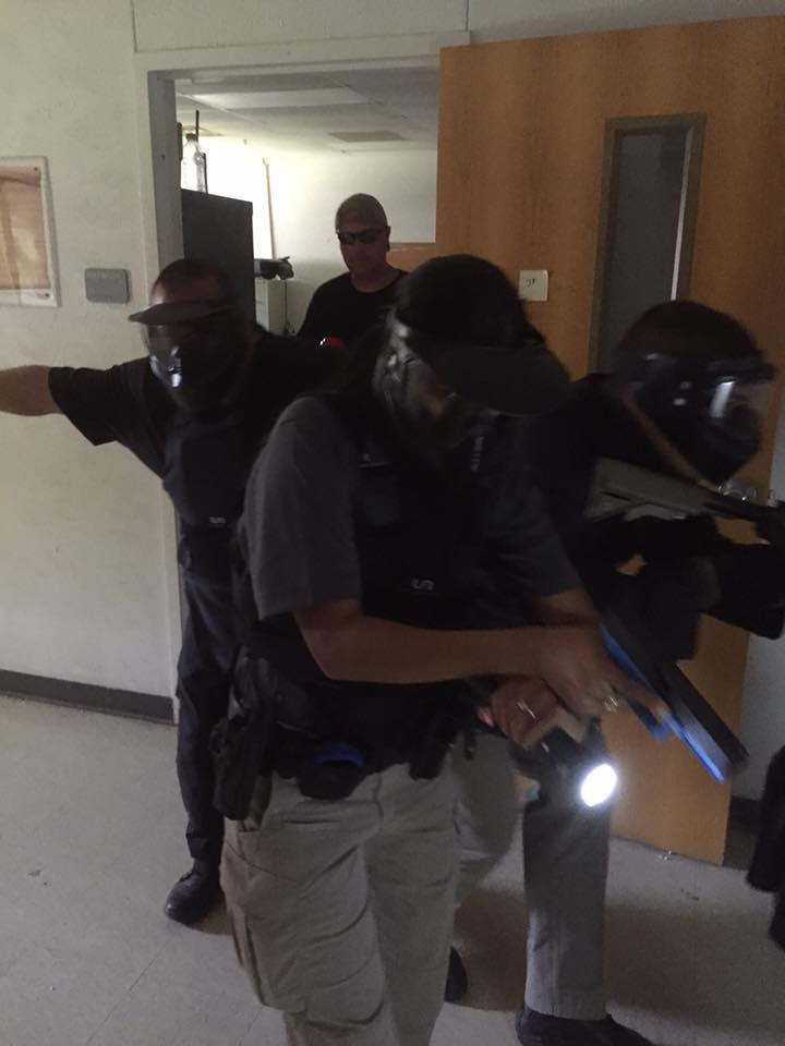 Officers take part in an active shooter class