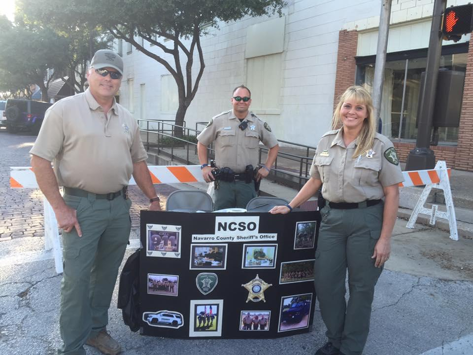 Sheriff Tanner, Sgt. Melanie Cagle and Deputy Eric Wilson participating in the National Night Out celebration