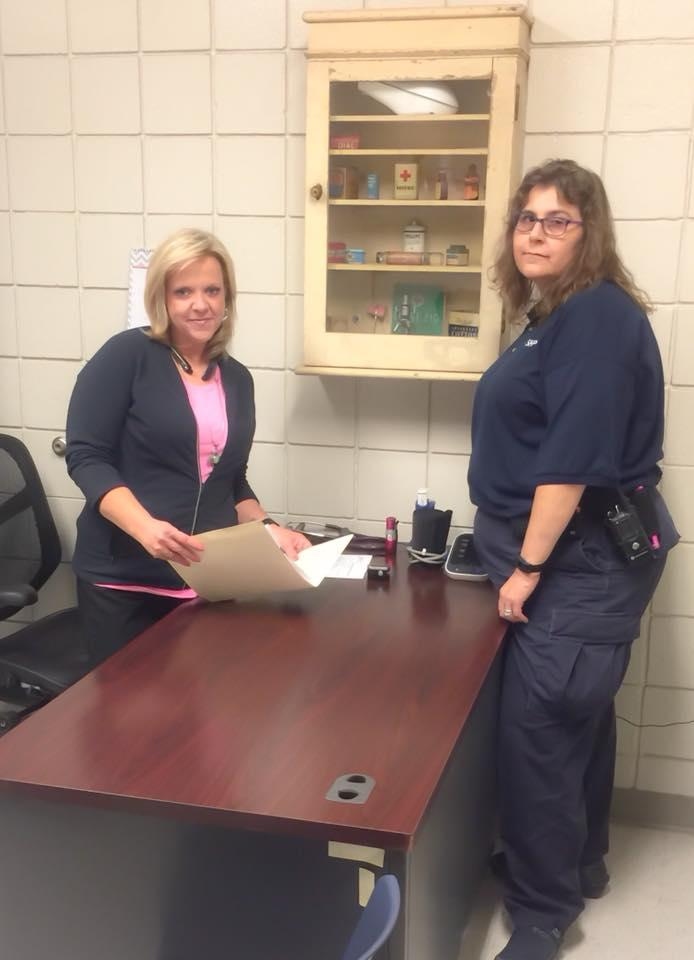 Correctional nurses Linda Hullett and Evelyn Heilmann.